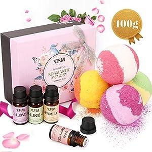 Y.F.M Bombas de Baño y Aceites Esenciales 100% Puros y Naturales, 4 Sal de Baño y Aceites de Aromaterapia para…