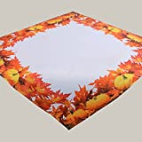 Tischdecke 85 x 85 cm bedruckt Kürbis Herbstmotiv Mitteldecke orange creme