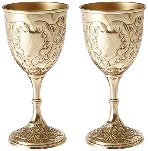 Progettazione Toscano TV98004 del Re Reale Calice Embossed Brass Goblet