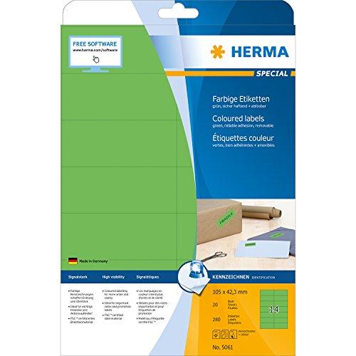 Herma 5061 Farbetiketten ablösbar (105 x 42,3 mm auf DIN A4 Papier matt) 280 Stück auf 20 Blatt, grün, bedruckbar, selbstklebend