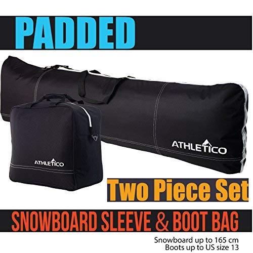 Athletico Taschen-Set für Snowboard und Stiefel, zweiteilig, Aufbewahrung und Transport von Snowboards bis 165cm und Stiefel bis Größe 48, enthält 1Snowboardtasche und 1Stiefeltasche, Schwarz