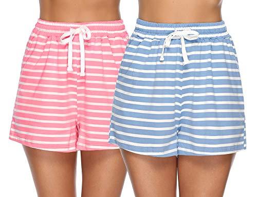 Hawiton Pantalones Pijama Mujer Cortos Verano Algodón