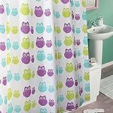 Design tenda da doccia/vasca vorahng in der Colore Verde/Blu/Viola/100% poliestere/180x 200cm/lavaggio Bar/gufi.