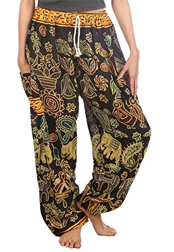Lofbaz Mujer Elefantes 2 Cordón Harén Boho Pantalones Negro M