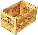 Birnenkiste 1-Brett flambiert / geflammt / Weinkiste Holzkiste Apfelkiste Obstkiste aus dem Alten Land xxx ca 49 x 30 x 28 cmxxx