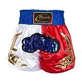 Herren Combat Shorts Für Das Boxen Muay Thai MMA Kickboxing Cage Fighting Training Und Professionelle Kampfshorts Mix Martial Arts Fighting Shorts Blau/Gelb/Schwarz Stitching Taille M-3XL