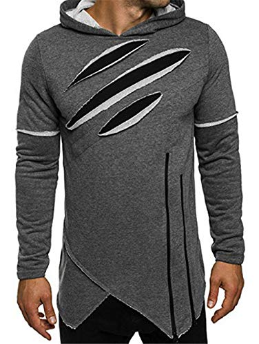 Hoodies Men Ripped Zip Unregelmäßige Kratzer Sweatshirts Mens -