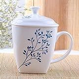 Simple par de tazas grandes Bone China Mug blanco con tapa de vidrio taza de café de cerámica,B