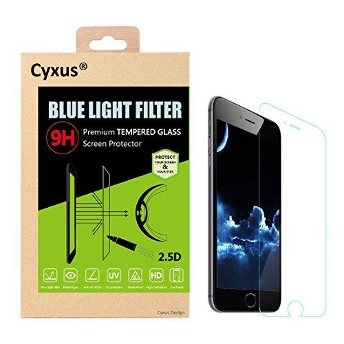 Cyxus Blue Light Filter Einschlafen 9H gehärtetes Glas Ultra Clear Displayschutzfolie für Apple iPhone 6/6S (4.7 Zoll)