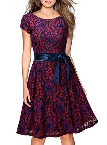 Miusol Damen Elegant Bogen Guertel Hochzeit Brautjungfer Mini Spitzenkleider Abendkleider Rot Gr.M