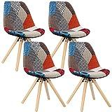 WOLTU® 4 x Esszimmerstühle 4er Set Esszimmerstuhl mit Sitzfläche aus Leinen Design Stuhl Küchenstuhl Holz, Patchwork, Mehrfarbig BH52mf-4