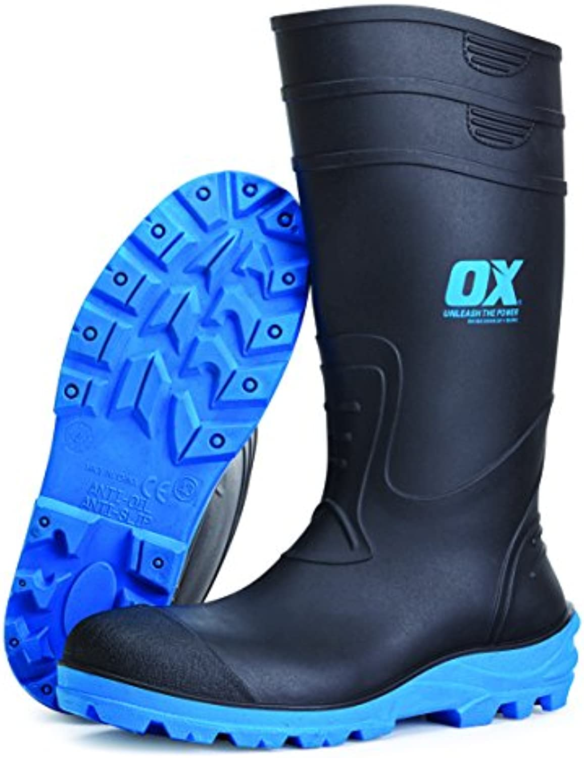 Buey ox-s242408 Safety Wellington Boot, Negro/Azul, tamaño 8