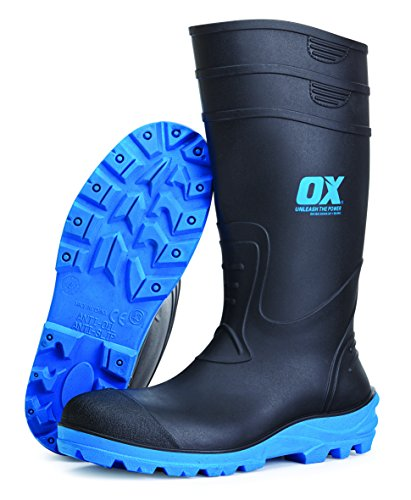 OX OX-S242405 Safety Wellington Boot, Black/Blue