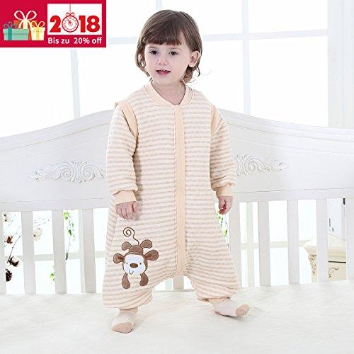 Schlafsack mit Füßen und Langarm Schlafanzug Baumwolle Mit reizendem Affe-Cartoon-Entwurf (XL, Beige) (Schlafsäcke Rabatt)