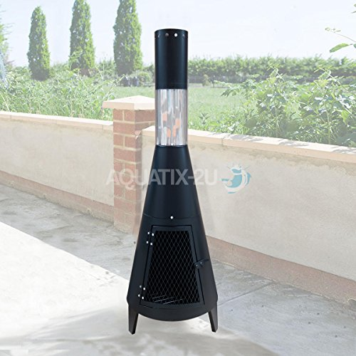 Contemporary Chiminea for Garden and Patio Fire Pit with Chimney