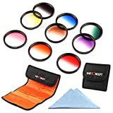 K&F Concept 9pcs 77mm Graduated Color Filter Set Orange Blue Neutral Density(ND4) Red Purple Green Pink Brown Yellow Lens Filter Kit for Canon 6D 5D Mark II 5D Mark III for Nikon D610 D700 D800 DSLR Cameras + Lens Cleaning Cloth + Filter Bag Pouch