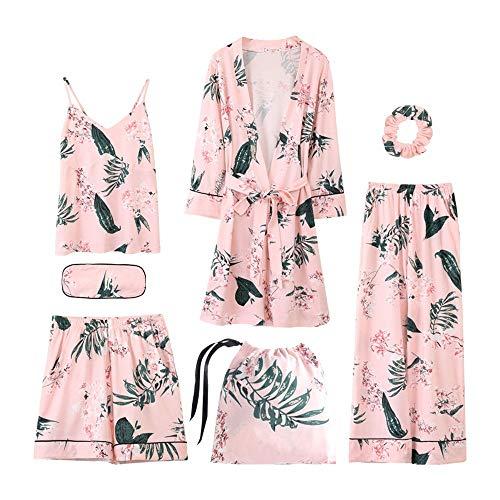 rbst Winter 7 Stücke Set Baumwolle Elegante Frauen Pyjamas Volle Shorts Langarm Top Elastische Taille Hosen Silk Lounge Robe, 5228, L ()