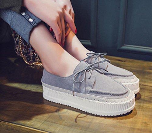 Low-Schuhe runden Spitzen Schuhe Muffin dicke Kruste Frau Schuhe Student Schuhe Aufzug Schuhe fallen Ms. Light Grey