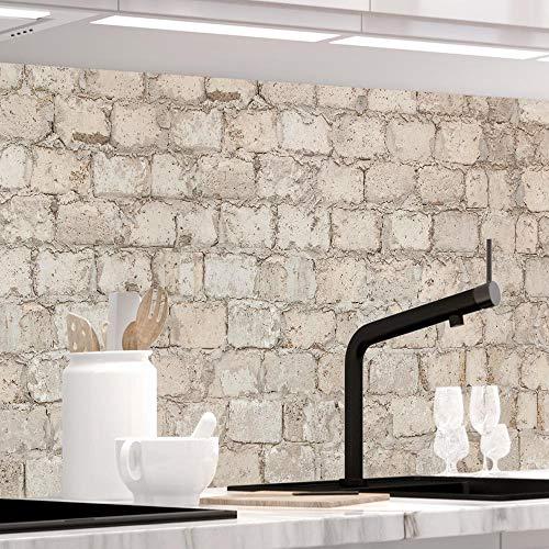 StickerProfis Küchenrückwand selbstklebend - ALTE Mauer - 1.5mm, Versteift, alle Untergründe, Hart PVC, Premium 60 x 220cm