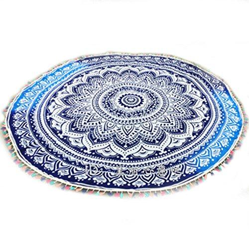 LUFA Rond Tassel coloré floral imprimé serviette de couverture de plage Tapis de yoga tapisserie