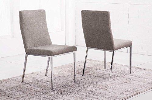 Silla comedor tapizada y estructura metálica cromada modelo QUICK tejido Elegance color moka – Sedutahome