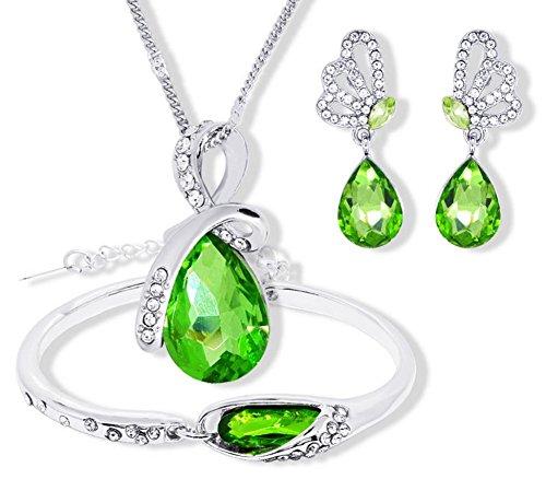 Gespout Collier Bijoux Pour Femme et Fille Alliage Vert Soirée de Mariage Saint-Valentin Fête des Mères Cadeaux d'anniversaire Bracelets et Boucles d'oreilles