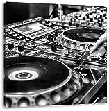 Monocrome, Modern beleuchteter DJ Pult, Format: 40x40 auf Leinwand, XXL riesige Bilder fertig gerahmt mit Keilrahmen, Kunstdruck auf Wandbild mit Rahmen, günstiger als Gemälde oder Ölbild, kein Poster oder Plakat