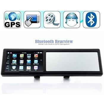 4,3 pulgadas Espejo retrovisor con Bluetooth manos libres para llamadas navegador GPS integrado de
