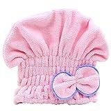 Chickwin-arc cheveux microfibre seche rapidement cheveux serviette enroulee de bonnet de bain (Rose)