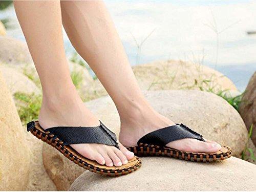 Pantofole cinturini Ciabatte infradito Uomini Clip Toe Pantofole Antiscivolo Cucitura a mano Sandali da spiaggia Scarpe casual Dimensioni Eu 38-44 Black