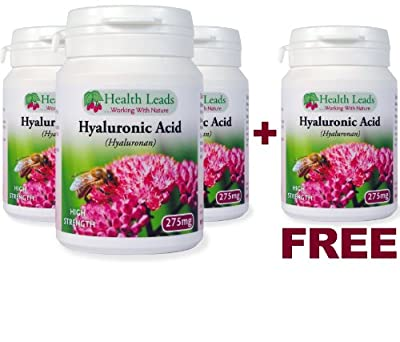 **3 + 1 FREE **Hyaluronic Acid High Strength 275mg x 50 Caps (hyalurona n) - 100% Additive Free from Health Leads UK