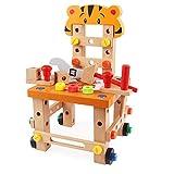 Werkbank Holz Puzzle Konstruktions Set Kleine Montage und Demontage Baubank Stuhl mit Zubehörer inkl. Schraube, Schraubenschlüssel, Hammer 55 Stücke Pädagogische Kreativspielzeug ab 3 Jahren (Tiger)