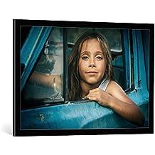 """Cuadro con marco: Alex Gusev """"Road story"""" - Impresión artística decorativa con marco de alta calidad, 90x60 cm, Negro / canto gris"""