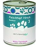 6 x 400 g - Wittis Fleischdosen für Hunde - garantiert OHNE künstliche Vitamine!!-Fleisch pur - Hirsch - pur - Barf in Dosen - Dosenfutter ohne Zusätze