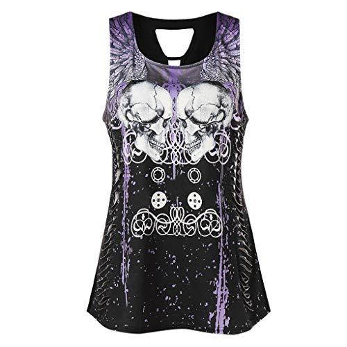 SEWORLD Elegante Sommerfrauenweste T-Shirt Schwarzes Bodenshirt V-Ausschnitt T-Shirt Mit Totenkopf-Print Und Dekorativem Metallunterhemd Aus Metall Top -
