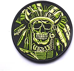 Pinkdose® Design A: Indian Chief Skull Tactical Patch Skeleton Head Morale Badge Us Army Military Armband Patch for Jackets Jeans Backpack Cap Hat