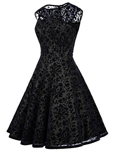 Belle Poque 50s Rockabilly Kleid Damen Cocktailkleid Spitze Vintage Kleider LM278 BP278-4(Schwarz)
