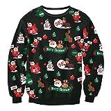 Luckycat Weihnachtspullover 3D Unisex Druck Pullover Weihnachten Xmas Ugly Christmas Sweater Weihnachtspullover Mit Rundhalsausschnitt Sweatshirt