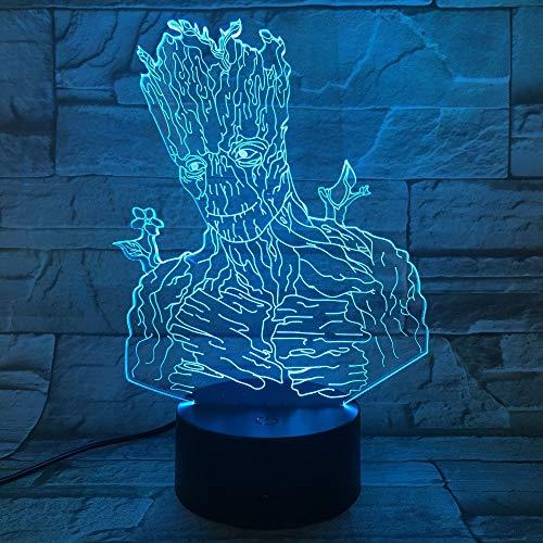 1 PACK, Für Neuheit Groot Wächter 3D LED Licht Halloween Dekoration Geschenk Kind Urlaub USB 7 Farben Ändern Lava Lampe Kinder Hobbies