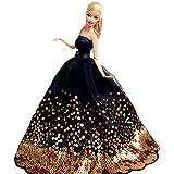 WayIn® El vestido de partido hecho a mano magnífico con Lentejuelas Diseñado para adaptarse a la muñeca Barbie Negro