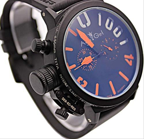 HHGDSB Armbanduhren New Herren Sport Black Rubber Classic U Runde automatische mechanische linken Haken Handuhr Big 50mm Boat Herrenuhrenschwarz orange