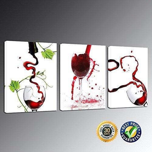 Creative Art–Groß Rot Weingläser Leinwand Bild der Kunst auf Leinwand print mit gerahmt,...