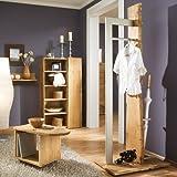 Komplett Garderobenset 4-tlg Eiche massiv natur Garderobe Flurmöbel Spiegel