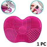 Hilai 1PC Spazzola per trucco da trucco Tappetino per la pulizia delle spazzole Silicone Tappetino per Pulire Pennelli Trucco Pulizia dei Make Up Brushes Cleaner Mat (Rosa)