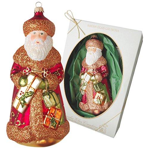 Krebs Glas Lauscha - Traditioneller Weihnachtsmann Väterchen Frost mit Geschenken und Laterne- Adventsschmuck/Christbaumschmuck/Anhänger - 18cm