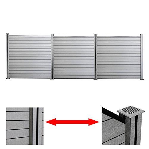 *Hengda®WPC Sichtschutz Zaun Blickdicht Windschutz Zaunblende Quadratisch Holzzaun Grau Wetterfest Dichtzaun Für Balkon Terrasse Schwimmbad (3 Zaun inkl. 4 Pfosten)*