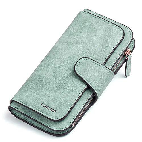 Gr8life Damen Vintage Geldbörse, Lange Portemonnaie mit Große Kapazität, Elegante und Süße Damen Geldbeutel Grün -