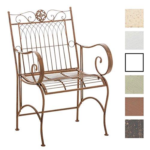 CLP Eisen-Stuhl PURUSHA mit Armlehnen, Gartenstuhl Metall, Design nostalgisch antik Antik Braun Eisen Stuhl