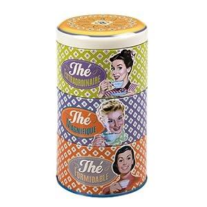 NATIVES 211372 Thé fantastique Lot de 3 Boîtes à thé empilables Métal Multicolore 8,5 x 8,5 x 15 cm 3 pièces