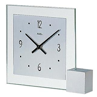 AMS Unisex Standuhren Analog Mineralglas 16 x 19 cm Silber 102